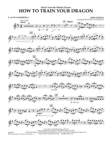 Music from How To Train Your Dragon - Eb Alto Saxophone 1