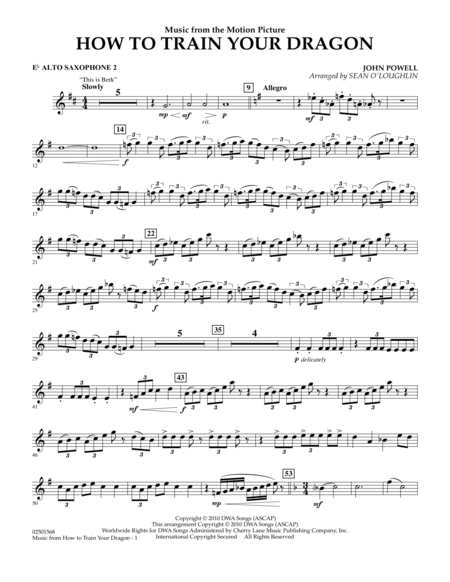 Music from How To Train Your Dragon - Eb Alto Saxophone 2