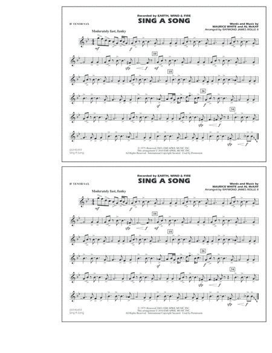 Sing A Song - Bb Tenor Sax