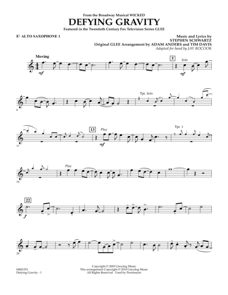 Defying Gravity (from Wicked) - Eb Alto Saxophone 1