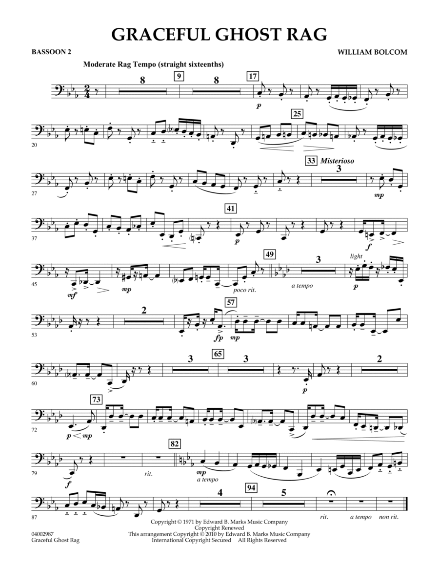 Graceful Ghost Rag - Bassoon 2