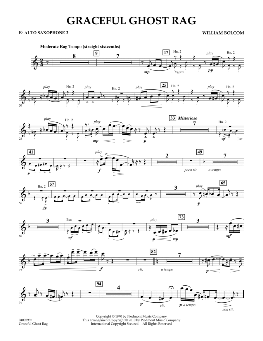 Graceful Ghost Rag - Eb Alto Saxophone 2