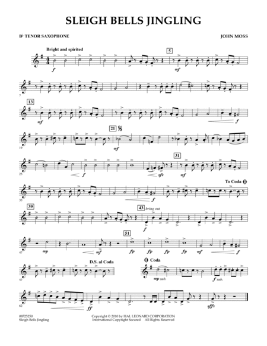 Sleigh Bells Jingling - Bb Tenor Saxophone