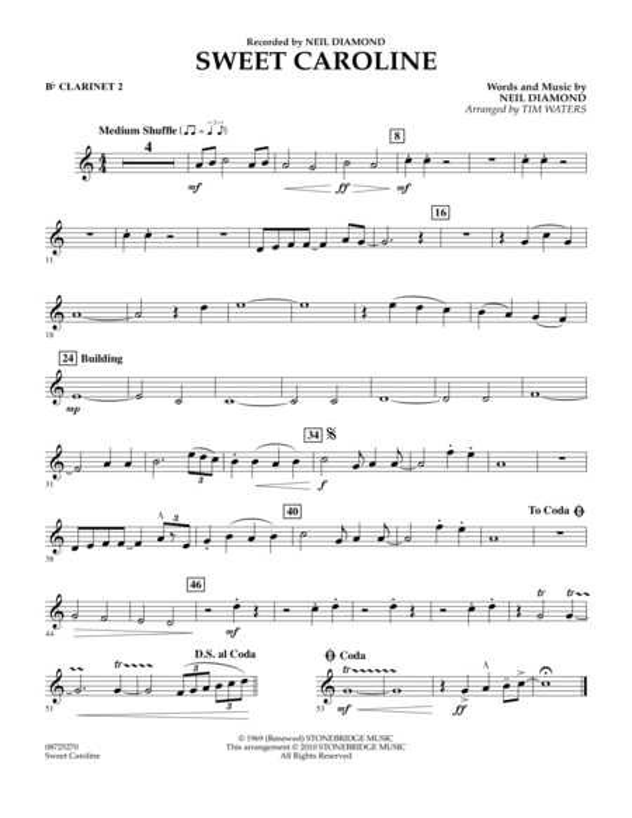 Sweet Caroline - Bb Clarinet 2