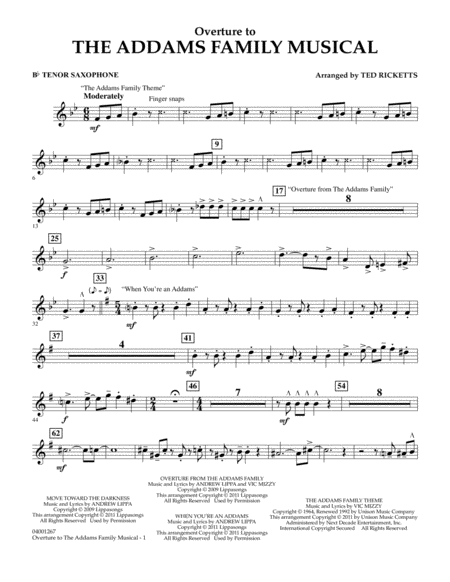 Overture to The Addams Family Musical - Bb Tenor Saxophone