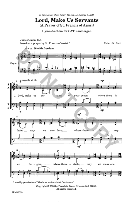 prayer of st francis music pdf