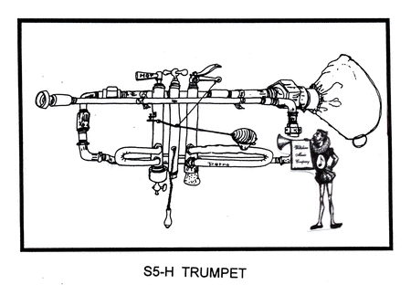 Pen & Ink Drawing of A Trumpet