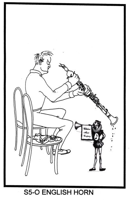 Pen & Ink Drawing of English Horn Player, with his sandwich