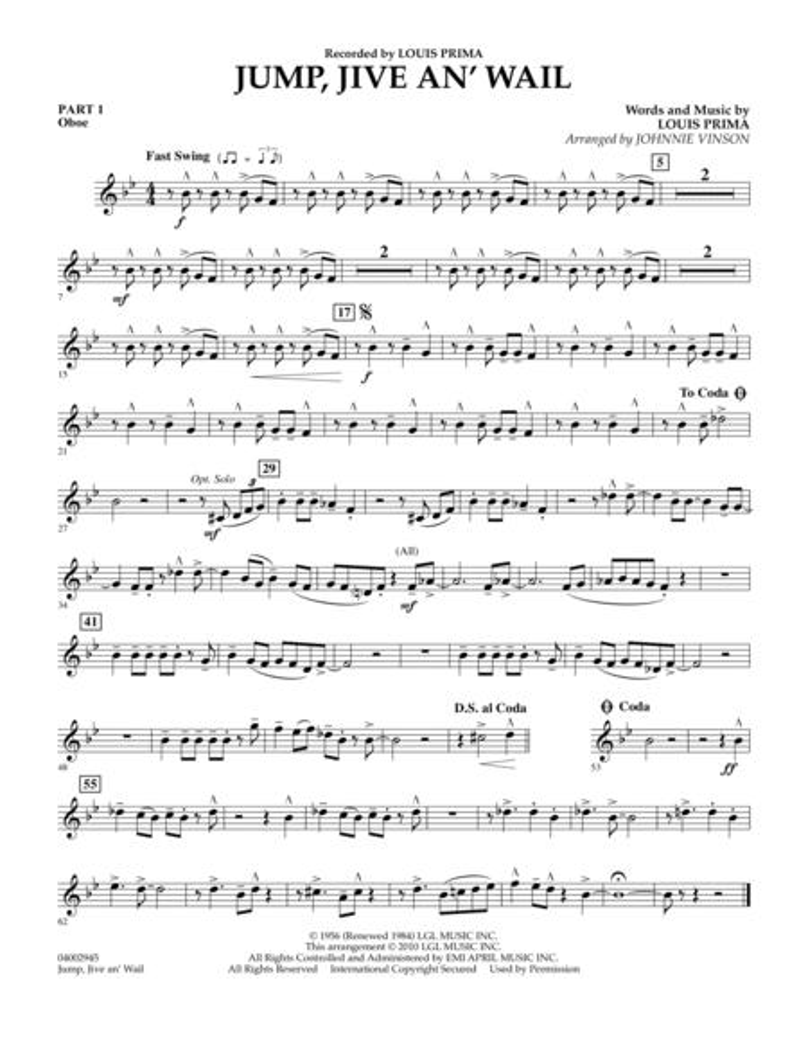 Jump, Jive An' Wail - Pt.1 - Oboe