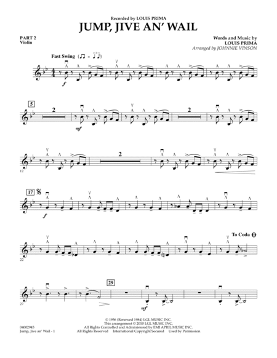 Jump, Jive An' Wail - Pt.2 - Violin