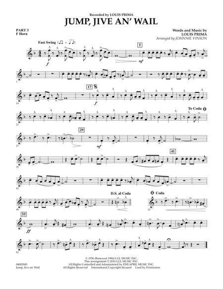 Jump, Jive An' Wail - Pt.3 - F Horn