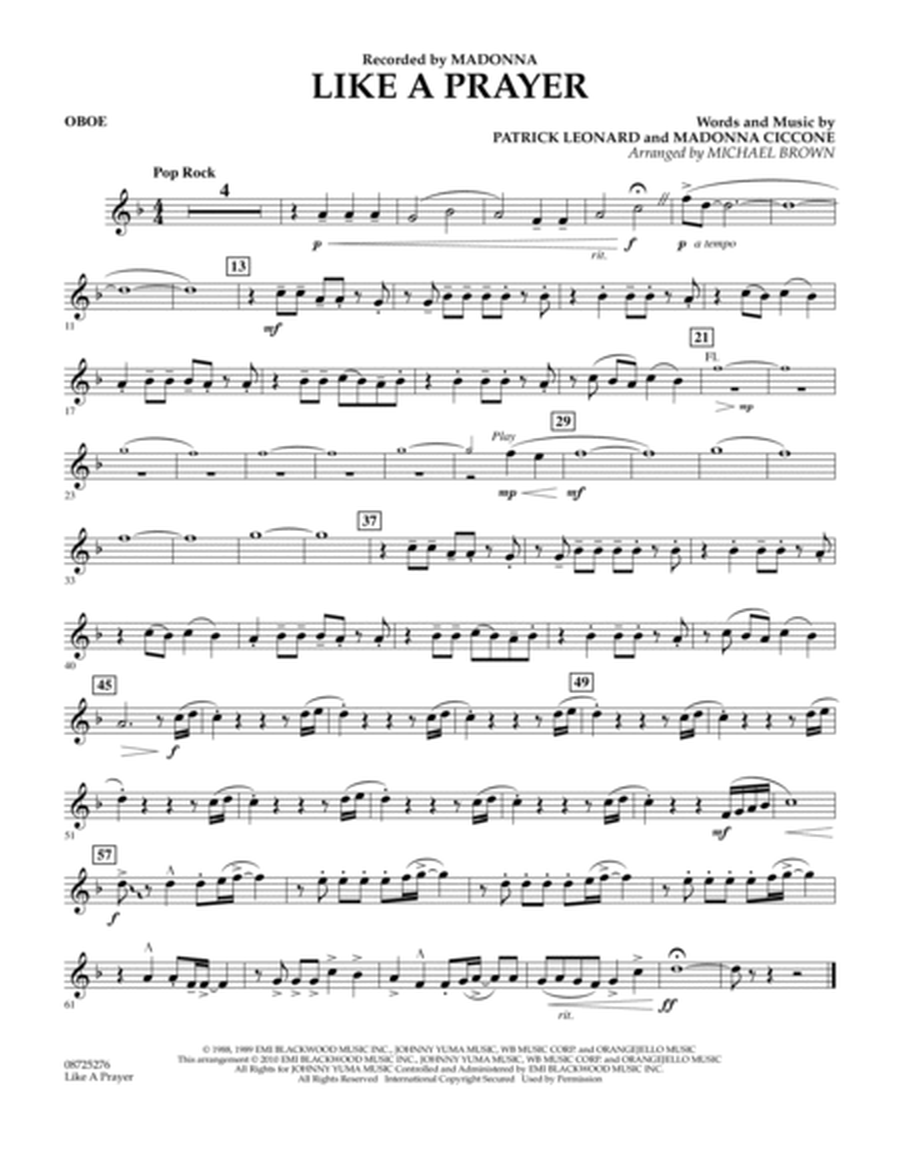 Like A Prayer - Oboe