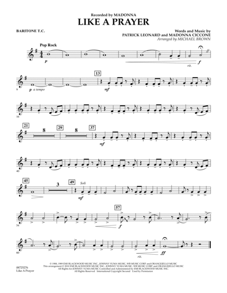 Like A Prayer - Baritone T.C.