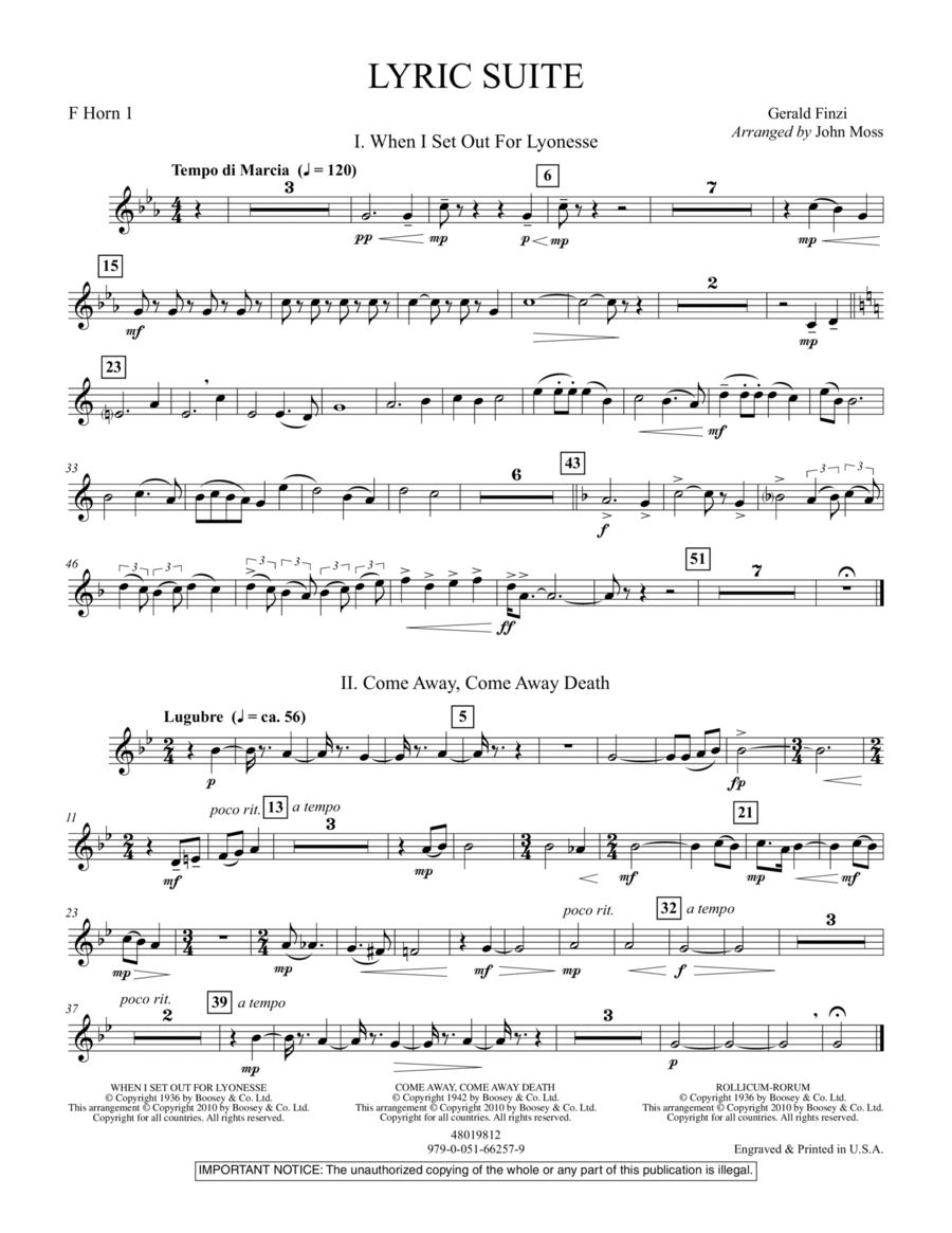 Lyric Suite - F Horn 1