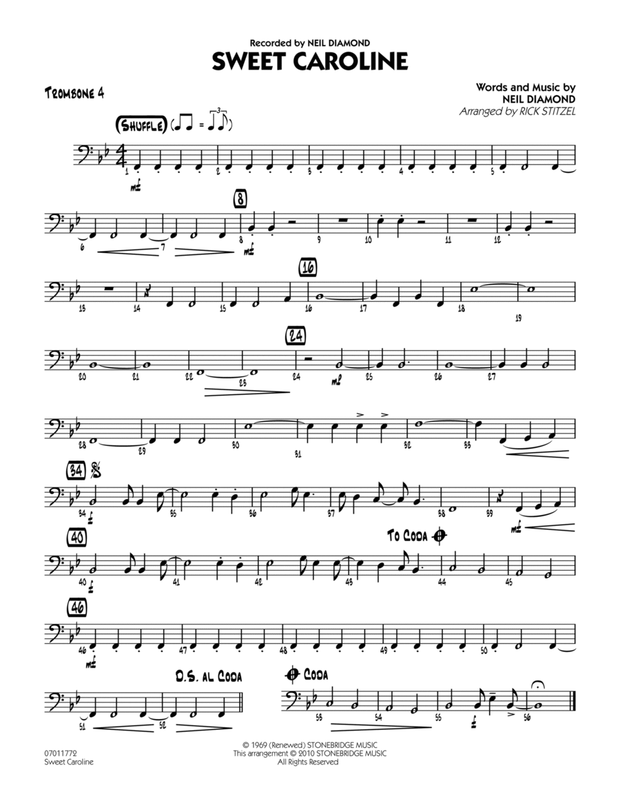Sweet Caroline - Trombone 4