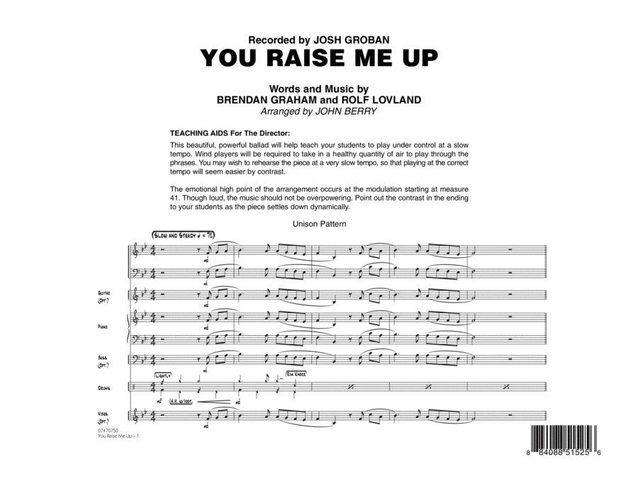 You Raise Me Up - Full Score