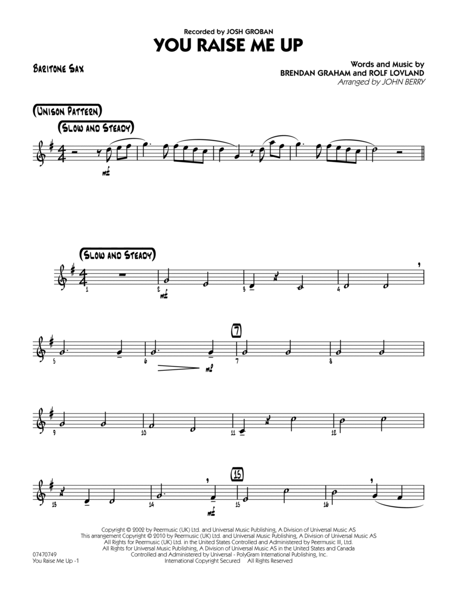 You Raise Me Up - Baritone Sax
