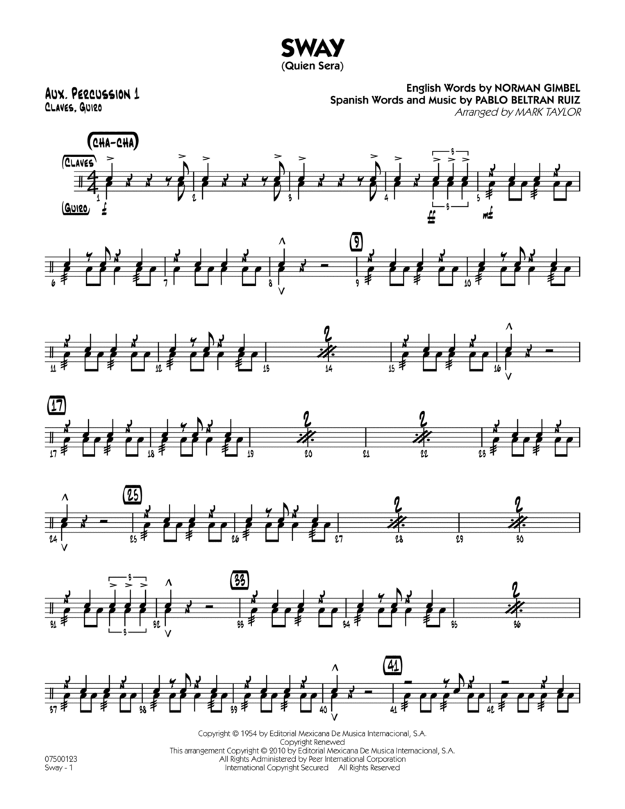 Sway (Quien Sera) - Aux. Percussion 1