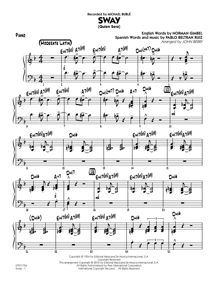 Sway (Quien Sera) - Piano