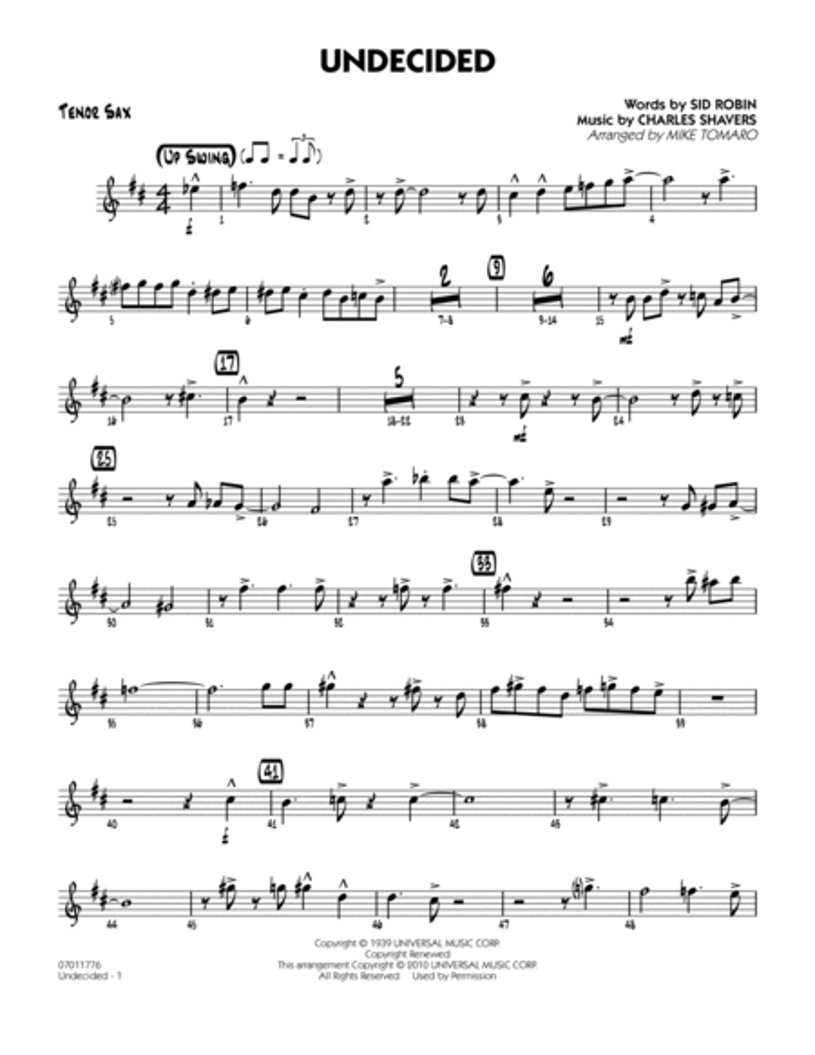 Undecided - Tenor Sax
