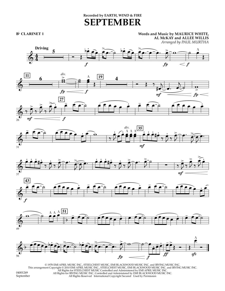 September - Bb Clarinet 1