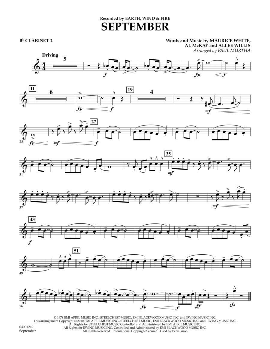 September - Bb Clarinet 2