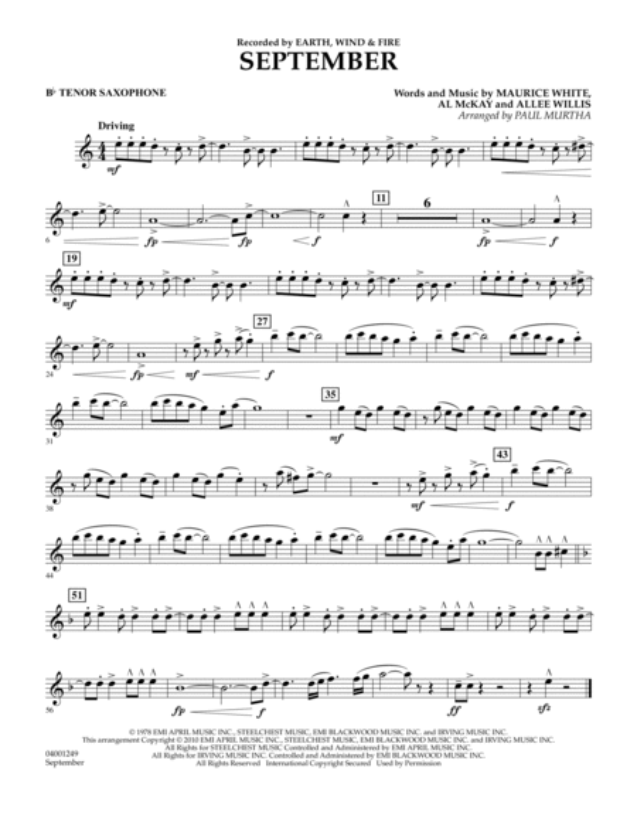 September - Bb Tenor Saxophone