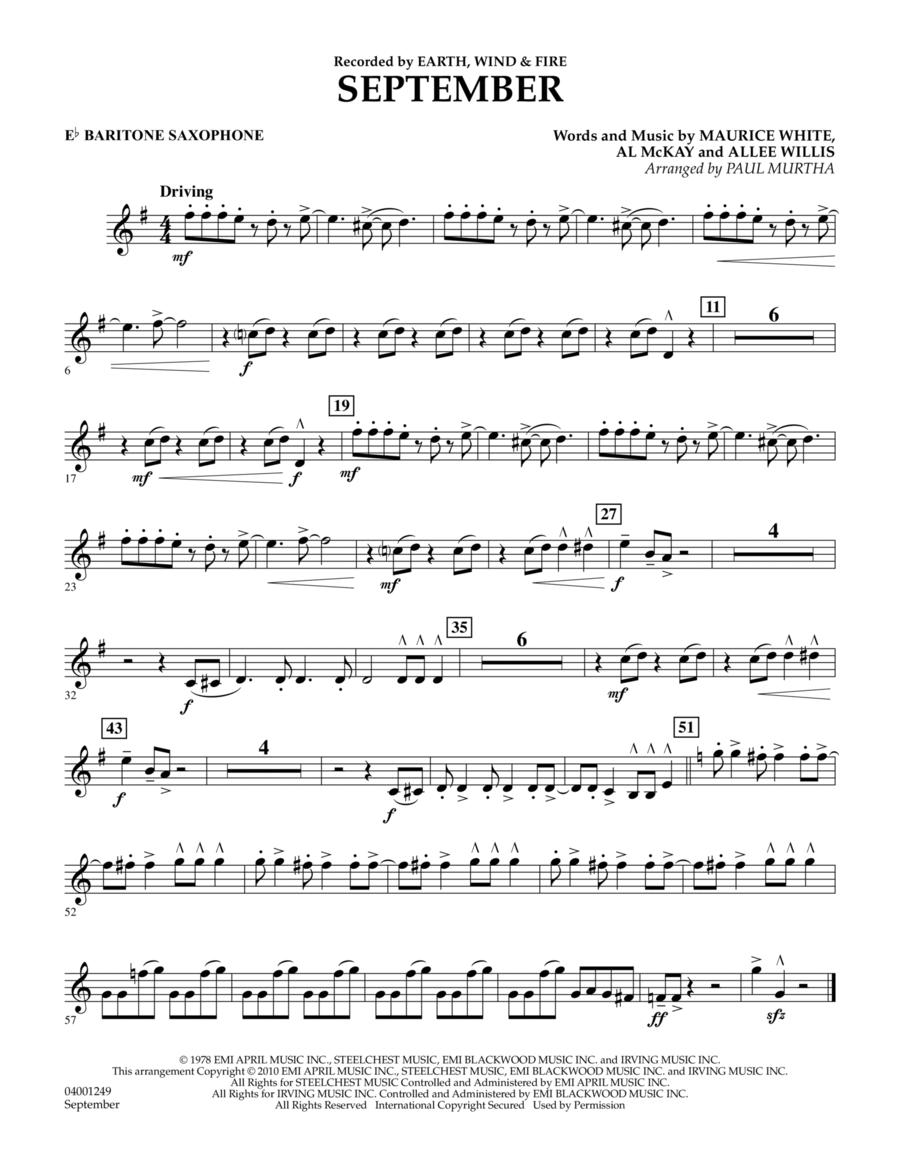 September - Eb Baritone Saxophone