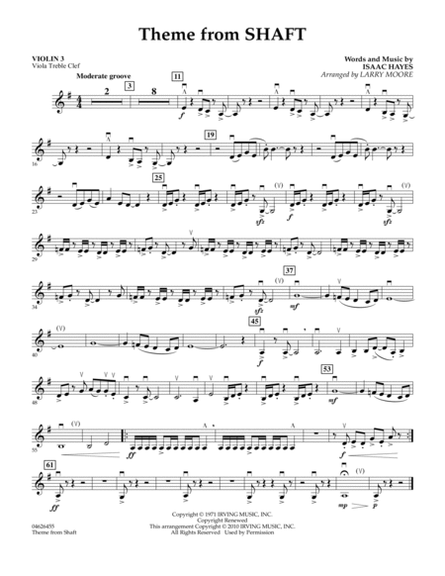Theme from Shaft - Violin 3 (Viola Treble Clef)