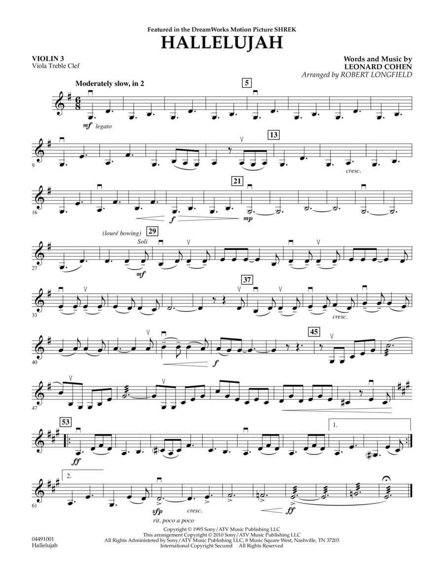 Hallelujah - Violin 3 (Viola Treble Clef)