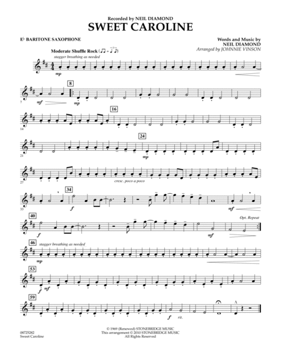 Sweet Caroline - Eb Baritone Saxophone