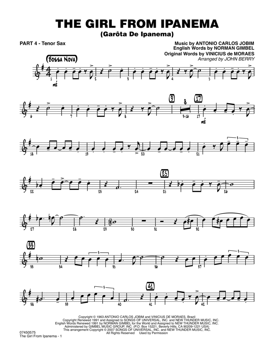 The Girl From Ipanema (Garota De Ipanema) - Part 4 - Bb Tenor Sax