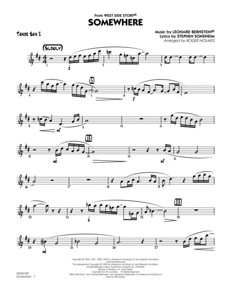 Somewhere (from West Side Story) - Tenor Sax 2