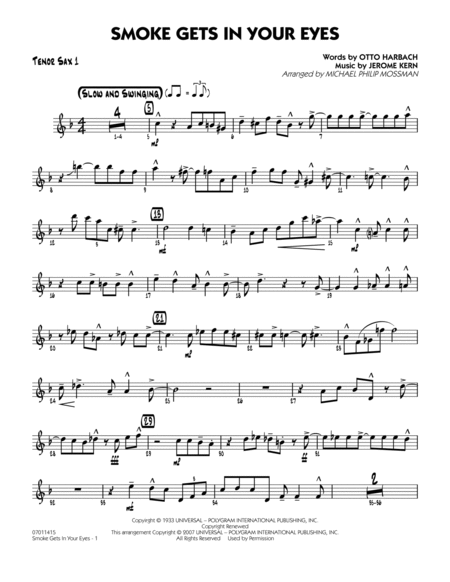 Smoke Gets In Your Eyes - Tenor Sax 1