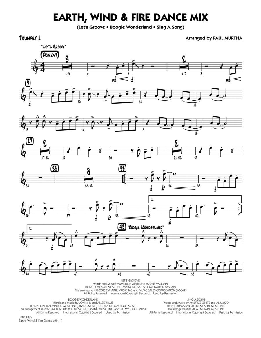 Earth, Wind & Fire Dance Mix - Trumpet 1