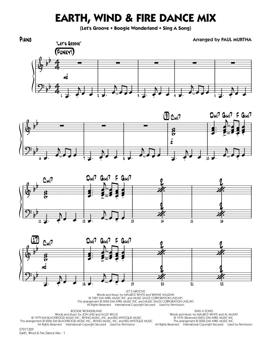 Earth, Wind & Fire Dance Mix - Piano