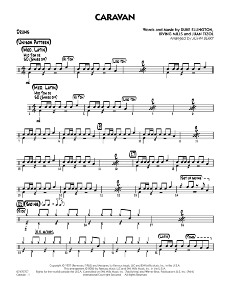Drum jazz drum tabs : Caravan - Drums