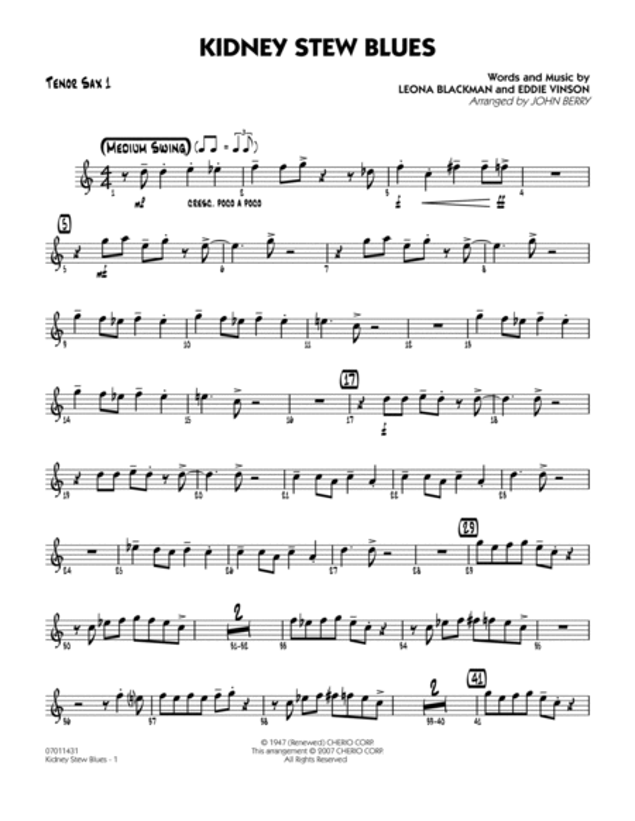 Kidney Stew Blues - Tenor Sax 1