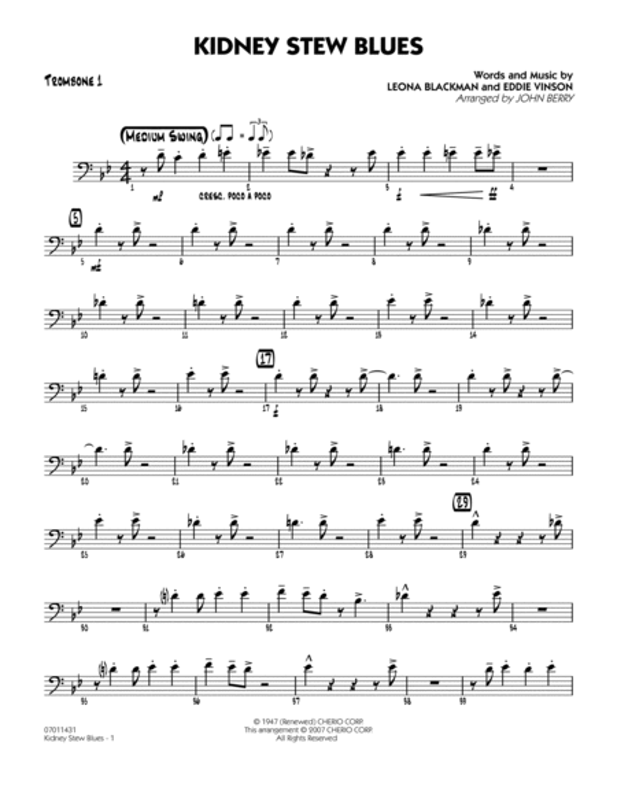 Kidney Stew Blues - Trombone 1