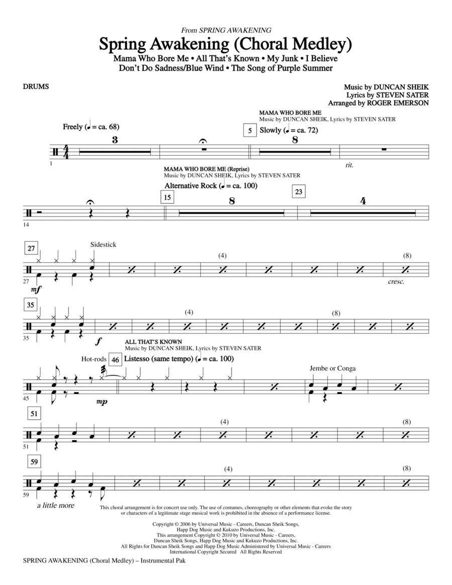 Spring Awakening (Choral Medley) - Drums