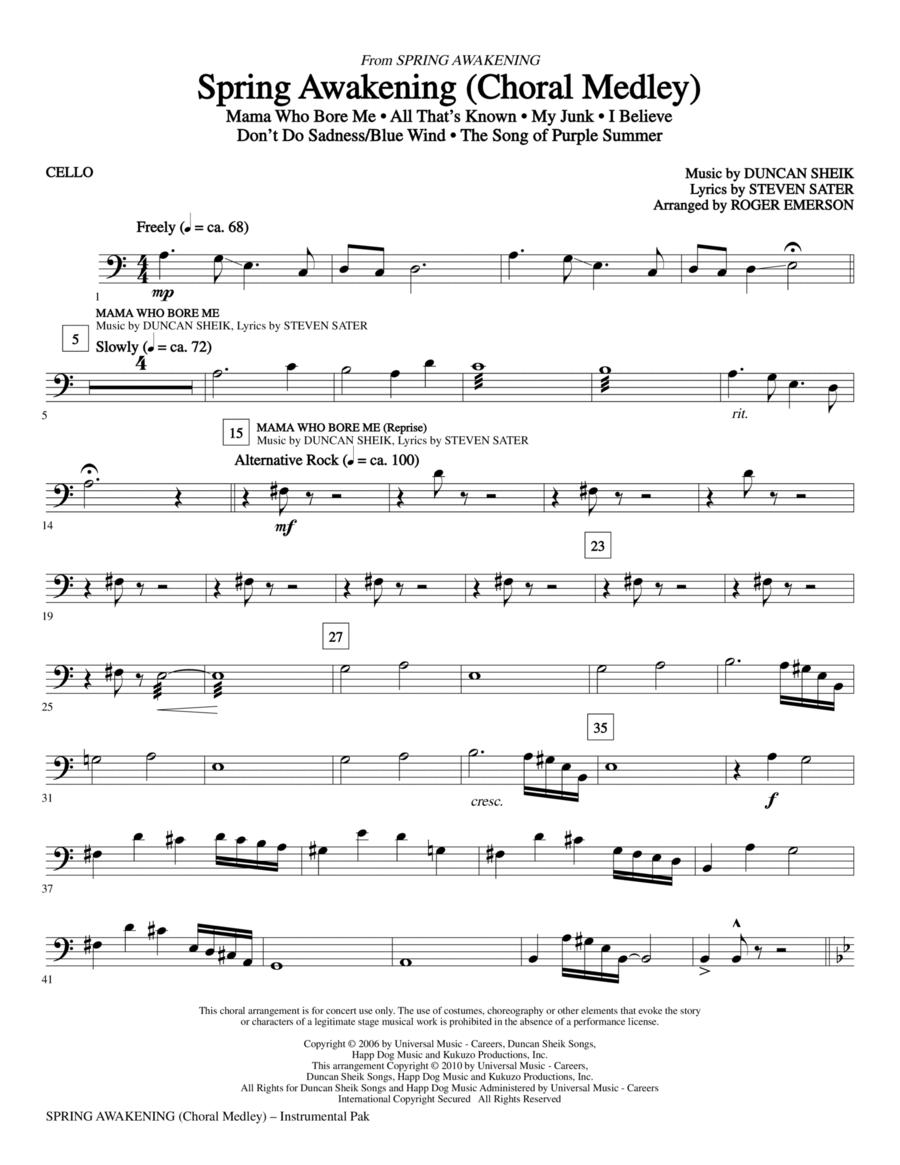 Spring Awakening (Choral Medley) - Cello