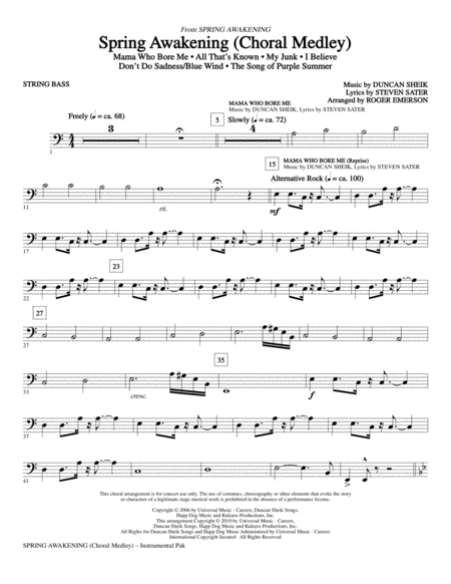 Spring Awakening (Choral Medley) - String Bass