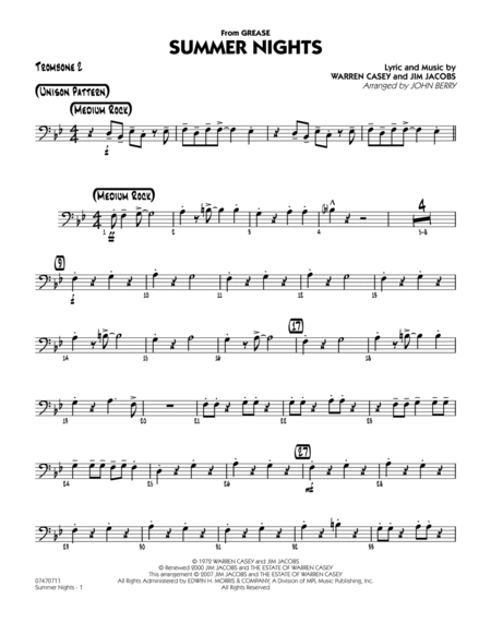 Summer Nights (from Grease) - Trombone 2