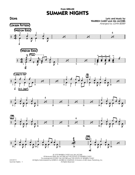 Summer Nights (from Grease) - Drums