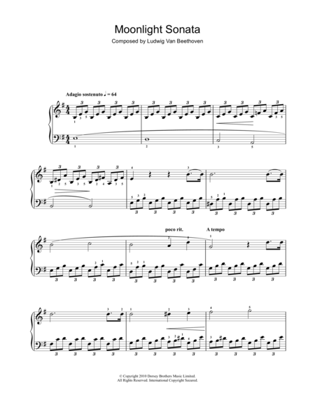 Moonlight Sonata (Mondscheinsonate), First Movement, Op.27, No.2