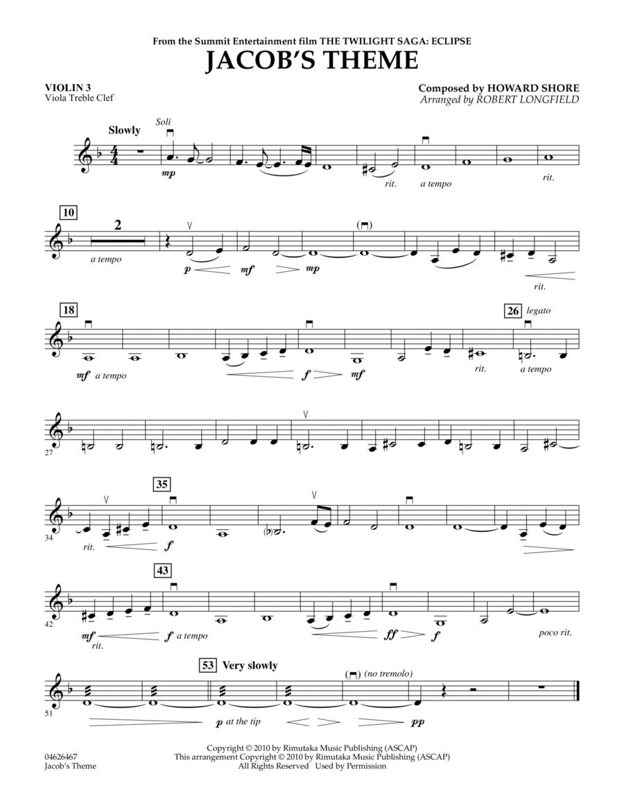 Jacob's Theme (from The Twilight Saga: Eclipse) - Violin 3 (Viola Treble Clef)