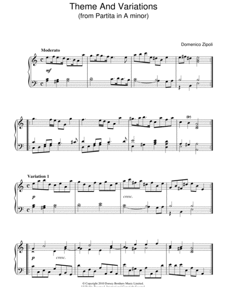 Theme And Variations From Partita In A Minor