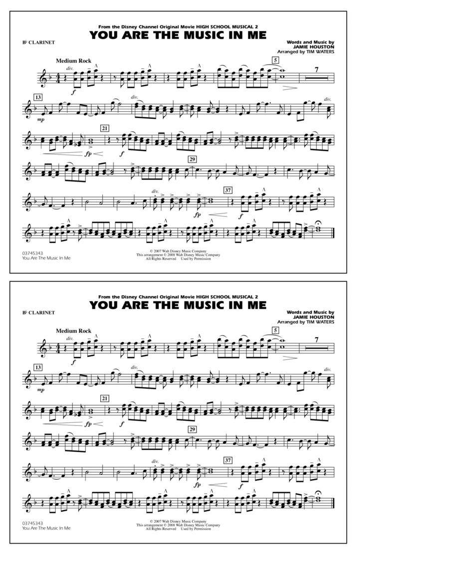 You Are the Music In Me (from High School Musical 2) - Bb Clarinet