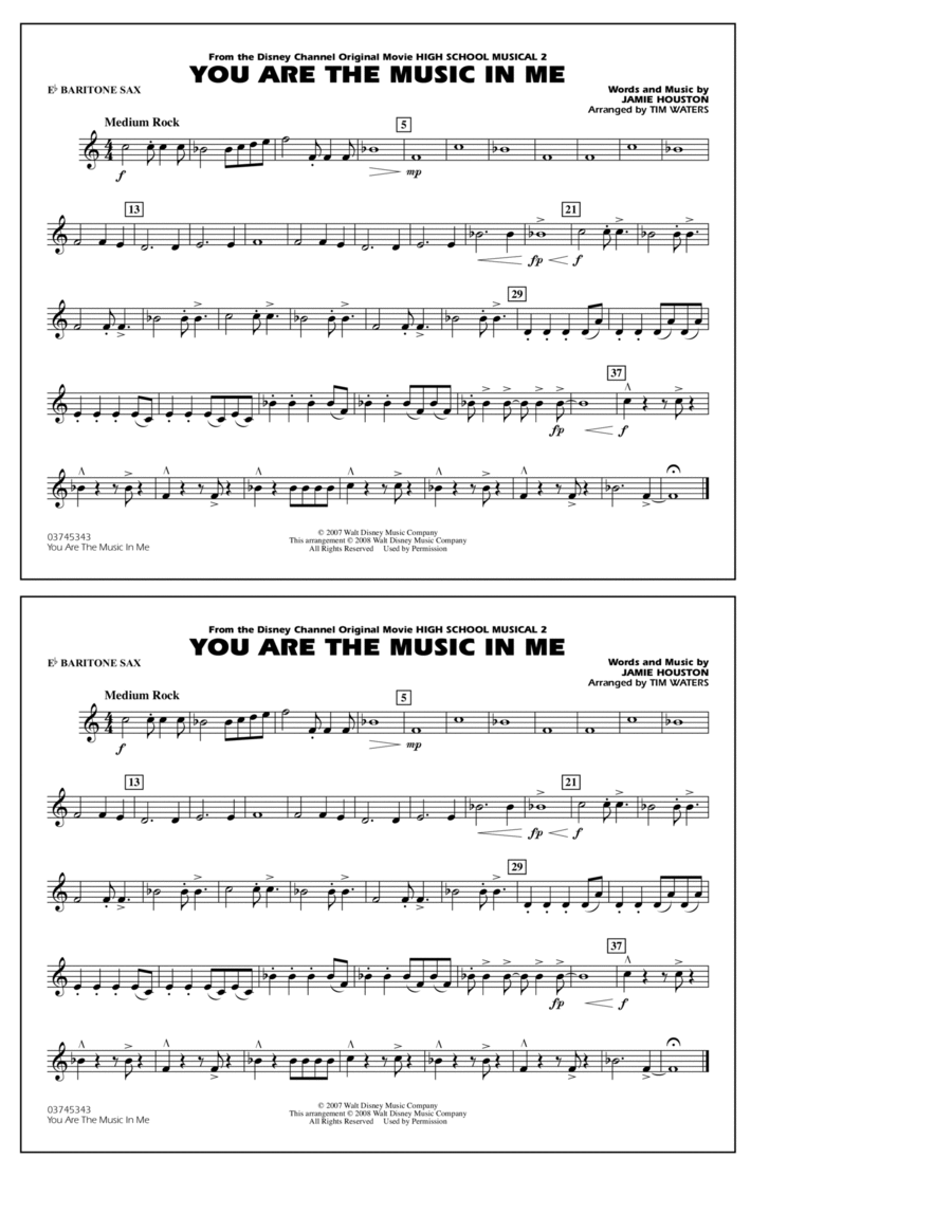 You Are the Music In Me (from High School Musical 2) - Eb Baritone Sax