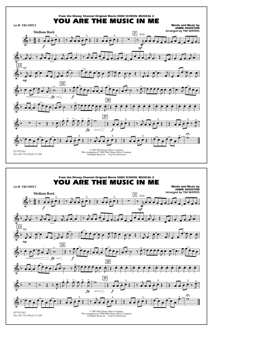 You Are the Music In Me (from High School Musical 2) - 1st Bb Trumpet